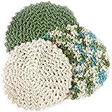 3 Green Cream & Multicolor Handmade Round Durable Cotton Dishcloth Set