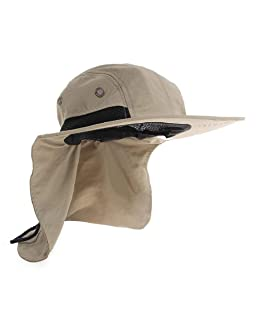 UV Protection Outdoor Sun Hats, Wide Brim Neck Flap Ear Full Cover, Ideal for Fishing/Hiking/Hunting (Khaki)