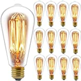 Edison Bulbs, FadimiKoo Vintage Bulb 60W Dimmable ST58 Squirrel Cage Filament Edison Lihgt Bulb for Home Light Fixtures Decor
