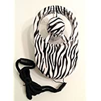 Isotoner Totes Brand Battery Operated Touch Personal Fan for Her! Fashionable Handheld with Stand! (Zebra Black & White)