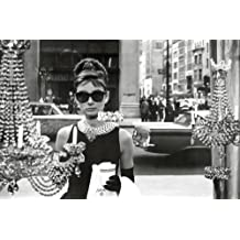 Pyramid America Audrey Hepburn-Breakfast at Tiffany's-Window Shopping in Black and White, Movie Poster Print, 24 by 36-Inch