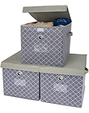 GRANNY SAYS Foldable Storage Cube with Lid, Storage Basket Box, Stackable Closet Storage Bins, Light Gray/White, Extra Large, 3-Pack