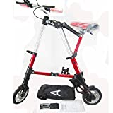 SOGAR Lightweight Mini Folding Bicycles Aluminum Alloy Bicycle Light Portable Commuter Car, Red