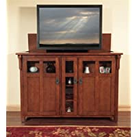 "Touchstone – Bungalow TV Lift Cabinet – Fits Displays Up to 60"" – Oak Wood Mission Chestnut Finish"