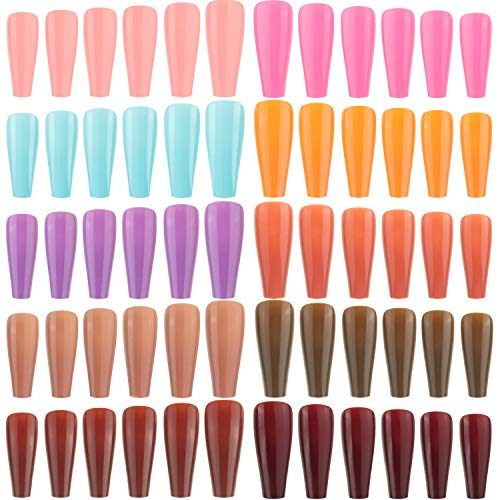 240 Pieces Extra Long Press on Nails Ballerina Coffin False Nails Solid Color Full Cover Fake Nails Artificial Acrylic Nails for DIY Nail Art Salon Women Girls (Assorted Pattern)