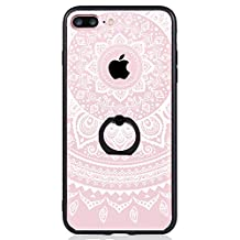 iPhone 7 Plus Case, SwiftBox Clear Black Design Built-in Ring Kickstand Coated Premium Non Slip Surface Case for iPhone 7 Plus with Tempered Glass Screen Protector (White Mandala Lace Flowers)