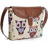 Mfeo Women's Owl Cotton Small Cross-body Bag Shoulder Bag Messenger Bag Purse