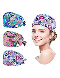 ZukoCert 3 Pack Adjustable Bouffant Hats Working Cap with Sweatband Button Lightweight Breathable Hats with Buttons