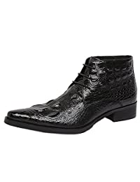 Santimon Men's Genuine Alligator Leather Ankle Boots Causal Boots