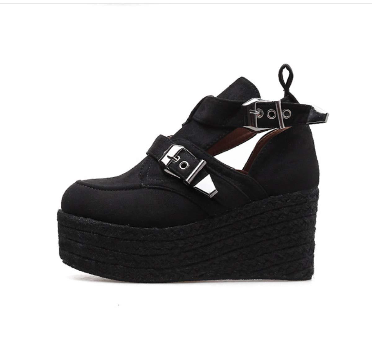 DANDANJIE DANDANJIE DANDANJIE Botines para Mujer Zapatos con tacón de cuña Botines con Botines con Hebilla de Cuerda de cáñamo a la Moda para otoño de 2018 (Color : Negro, tamaño : 39 EU) 9833f0