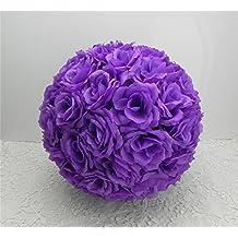 20cm Artificial Flowers Wedding Silk Rose Artificial Flower Kissing Ball Wedding Party Home Decoration (Purple)