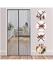 Magnetische Vliegengordijn, 95x230cm Hordeur, magneet, automatisch sluiten, met klittenbandsluiting met volledig frame, voor balkondeur, keuken, woonkamer, terrasdeur,Zwart