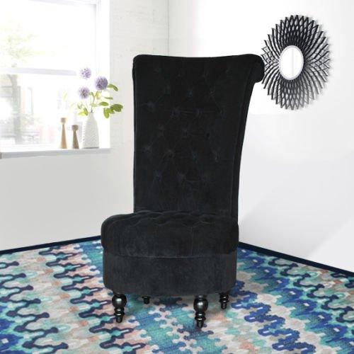 """HomCom 44"""" Tufted High Back Velvet Upholstered Accent Chair - Black"""