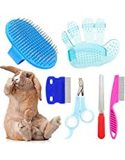 6 Pieces Rabbit Grooming Kit, Pet Nail Clipper and Trimmer with Pet Hair Remover, Pet Combs with Long and Short Handle, Pet Shampoo Bath Brush for Small Animals Rabbit Hamster by KALAMANDA