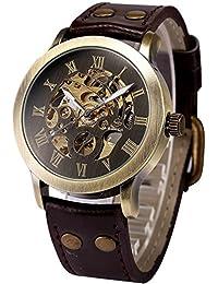 Mens Steampunk Skeleton Case Automatic Mechanical Self-Winding Leather Sport Wrist Watch