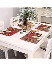 Weiyiroty Mata na stół bożonarodzeniowy, zestaw stołowy z materiału nadającego się do prania, z nóżkami i sprzączką widelcową, odporna na plamy, do grilla prezentowego