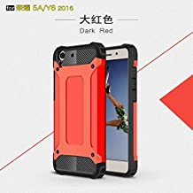 Zhusha Mobile phone case, Dual Layer Heavy Duty Hybrid Armour Tough Style Shockproof PC+TPU Protective Hard Case for Huawei Honor 5A / Y6 II / Y6 2 ( Color : Red )