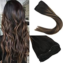 Sunny New Balayage Color 14inch Remy Hair Extensions Natural Black to Chesnut Brown Highlight Black Clip in Human Hair Extensions 7pcs 120gram for Beautiful Hairstyle