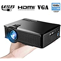 Wifi Mini Projector Portable for iPhone Android, WEILIANTE 1500 Lumens LCD HD Movie Video Projector Support 1080P HDMI USB SD Card VGA AV for Home Cinema TV Laptop