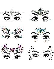 URAQT Face Gems Glitter, 6 stuks Strass Gezichtsjuwelen, Kristallen Gezichtsstickers voor Ogen, Zelfklevende Tijdelijke Body Tattoos voor Feest, Rave Festival