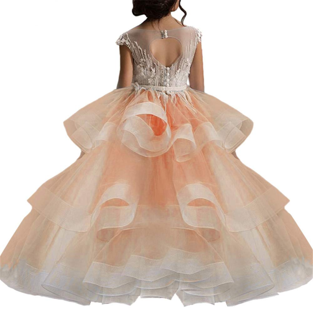Orange 8-9T Cvbndfe Weich Kinder Blaumenmädchen Rock Stitch Perlen Decals Hosted Performance Geburtstag Prinzessin Tutu Kleid (Farbe   Orange, Größe   8-9T)