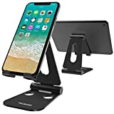 Tecboss Foldable Tablet Stand,Cell Phone Stand Multi-Angle Adjustable Desktop Holder for Nintendo Switch, iPad, iPhone X 8 7 Plus, Galaxy S8, Nexus All 3.5-13 inch - Black