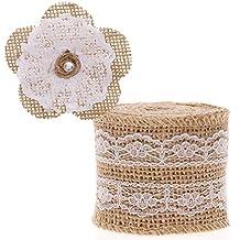 RUNMIND Lace Ribbon 2M Burlap Ribbon with DIY Flowers Party Wedding Xmas Decor