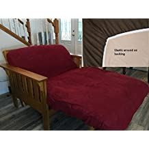 Octorose TWIN Size Elastic Bonded Micro Suede Easy Fit Fitted Futon Cover (Wine(Reddish))
