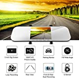 "HEIHEI A80 FHD 1080P 5"" Screen 170 Degree Rear View Mirror Car Dash Cam Dual Lens Dashboard Camera DVR Recording Backup Camera (Front View + Rear View Camcorder)"