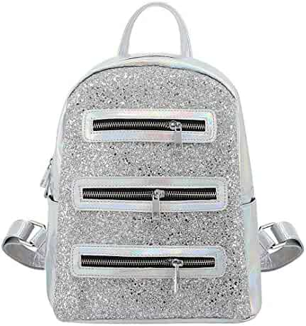 0963bcf57e Naimo Brilliant Hologram Pu Leather Paillette Shoulder Bag Glitter School  Backpack (Silver)