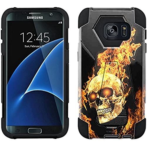 Samsung Galaxy S7 Hybrid Case Flaming Skull 2 Piece Style Silicone Case Cover with Stand for Samsung Galaxy S7 Sales