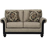Blackwood Traditional Taupe Turned Leg Wood Rail Loveseat