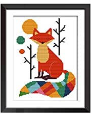 DIY Easy Cross Stitch Kits,Seven Color Fox 11CT Stamped Embroidery Starter Kit for Cross-Stitch Supplies Needlework Craft (28x38cm)