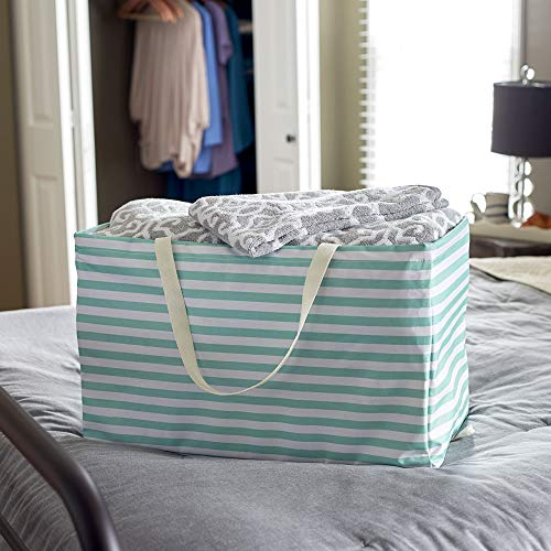 """Household Essentials 2242 Krush Canvas Utility Tote   Reusable Grocery Shopping Laundry Carry Bag   Teal And White Stripes, 22"""" L X 11"""" W X 13"""" H,"""