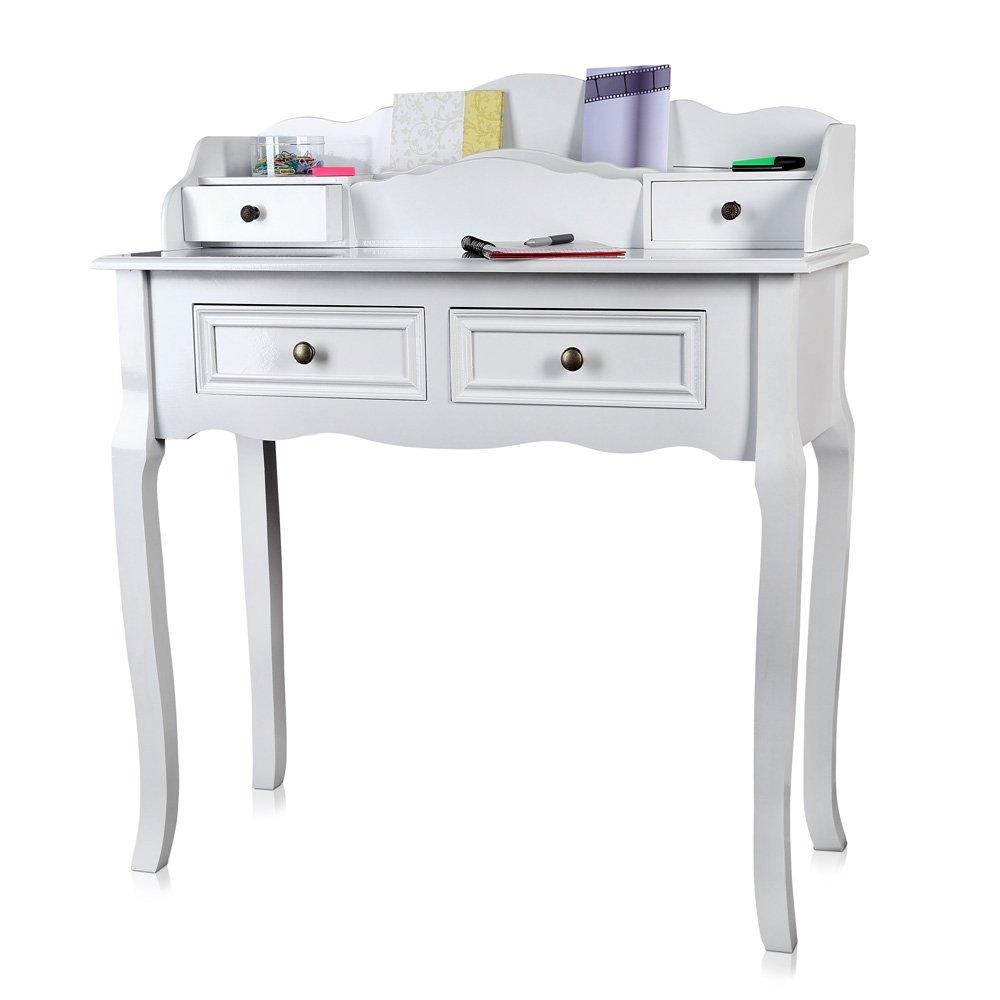 Schreibtisch antik im im im Landhaus Stil in weiß 87,5x40x102 cm (BxTxH) fb8274