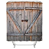 Bathroom Vanity 48 Inches Vintage Rustic Wood Theme Polyester Fabric Shower Curtain 48 Wide X72 Long Inches, Country Decor Old Wooden Garage Door American Country Style Decorations for Bathroomc Print,Home Antiqued Look