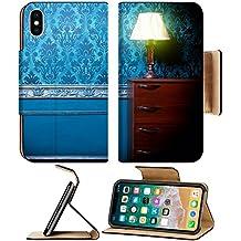 MSD Premium Apple iPhone X Flip Pu Leather Wallet Case Vintage lamp in retro blue toned interior Rococo fashion decor Rustic wallpapper Luxurt concept IMAGE 29680660