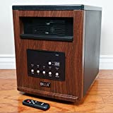 1500-Watt Portable Infrared Cabinet Large Room Heater with Remote w/ Wheel Brown + FREE E - Book