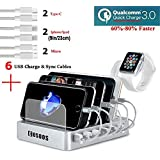COSOOS Fastest Charging Station with QC 3.0 Quick Charge,6 USB Cables(3 Types),iWatch Holder,6-Port Charger Station Organizer,Charging Docking Stand for Multiple Devices,Phones,Tablets(Silver White)