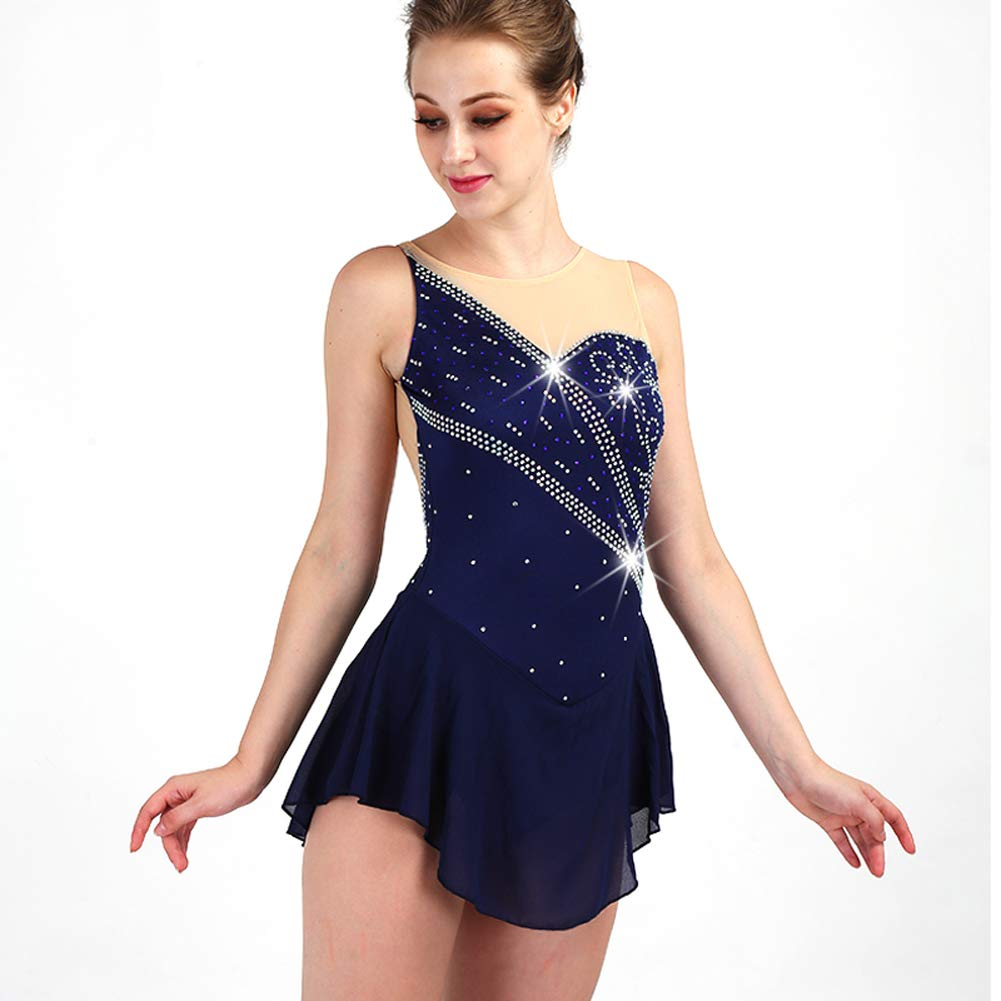 [RIKOUZY] フィギュアスケート衣装 子供 大人 ノースリーブ 肌色と紺色の組み合わせ アイススケートウェア 専用レオタード レッスン着 練習 競技 ダンスウェア スケート衣装 ネイビー 子供14