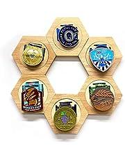 YAOUFBZ Medaille Display Box Zeshoek Box Displays Display Storage Tray Houten Zeshoekige Medaille Organizer Honingraat Frame Om Oorlog/Militaire/Sport Medailles weer te geven, 137,6 * 120 * 15mm (6 stuks)