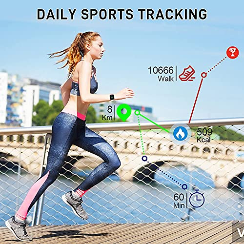 Smartwatch, 1.69 Reloj Inteligente Mujer Hombre, 24 Modos Pulsera Actividad e Fitness Tracker, Cronómetro, Calorías, Podómetro, Monitor de Sueño, IP67 Impermeable, Reloj de Fitness para Android iOS
