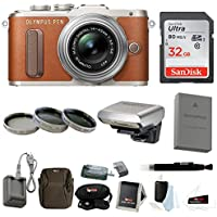 Olympus PEN E-PL8 Mirrorless Camera w/ 14-42mm IIR Lens Brown w/ 32GB Focus Kit