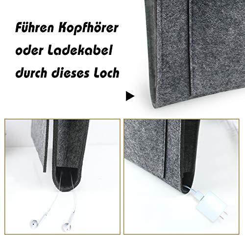 HAKACC Bedside Storage Pocket, Bedeside Organiser Felt Bedside Caddy with 7 Pocket for Bed Rails Sofa Organising Pad Magazine Books