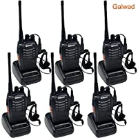Galwad 6 PCS Walkie Talkie Portable Ham Two Way Radio Handheld UHF 400-470MHz Transceiver Interphone With Rechargeable Li-ion Battery Headphones Charger (Pack of 6)