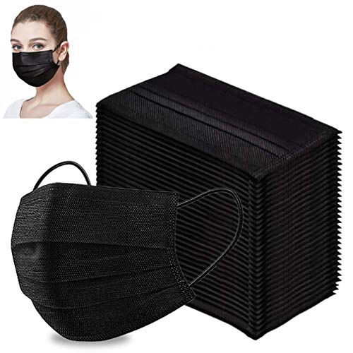 Disposable Black Face Shield 50pcs 3 Ply Safety Mouth-covering,Breathable Dust Proof Personal Protection for Adult,Indoor and Outdoor Use