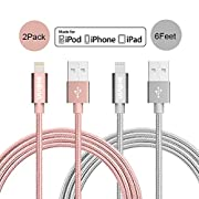 Amazon Lightning Deal 85% claimed: Vinpie 2PCS 6FT Nylon Braided 8 Pin Lightning Cable Fast Charge and Sync USB Cables Charger Cord for iPhone6,6s, 6 Plus,6s Plus, iPhone 5 5s 5c,SE, iPad Air, iPod Nano 7,iPod 5 (2 Pack 6ft Gray)