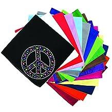 Dog in the Closet, Peace Sign with Stars & Hearts - Rhinestone Dog Bandana - Choice of Color
