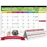 Desk Pad Calendar 2019, Office Rainbow Wall Calendar Large Size 17''x11'' Runs from November 2018, Beautiful Academic Year Teachers Family Monthly Desktop Calendar Planner 2019-2020