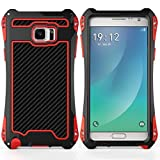 Samsung Note 4 case, Feitenn Shockproof Rain proof Armor Trank Aluminum Metal bumper Gorilla Glass Military Heavy duty Silicon Rubber case Waterproof case for galaxy Note 4 (Black/Red)